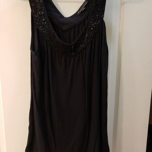 F21 Black Blouse with beaded neckline
